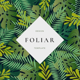 Tropical forest leaves abstract vector background with banner template.