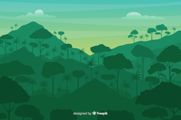 Tropical forest and mountains landscape
