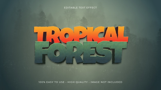Tropical forest text effect concept