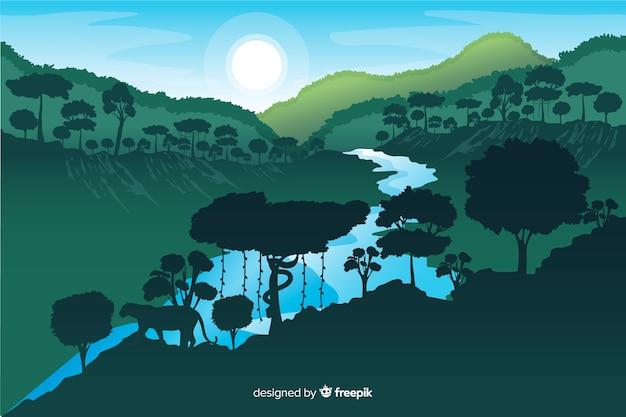 Foresta tropicale con fiume e sole splendente