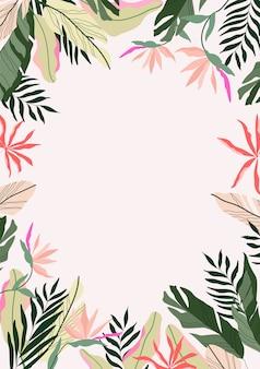 トロピカルフレームの背景。モダンなハワイアンカード、バナーテンプレート。エキゾチックな枝と花です。植物のフレームのイラスト。ジャングルボーダーに描かれたデザイン。