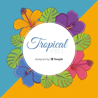Tropical frame background with flowers