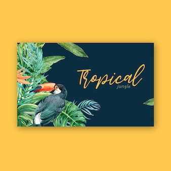 Tropical frame border summer with plants foliage exotic, creative watercolor