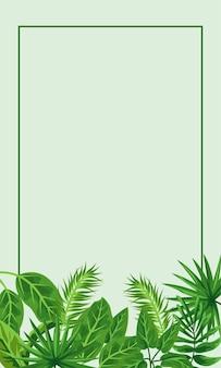 Тропическая рамка декоративная с зелеными листьями и зеленым фоном