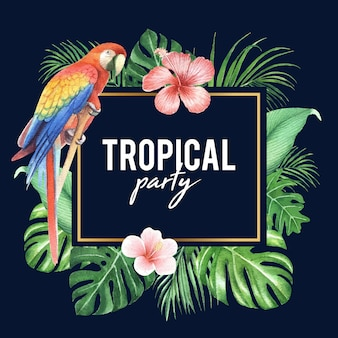 Tropical frame design with foliage and bird, vector illustration.
