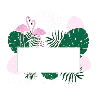 Tropical frame leaves and flamingo summer banner