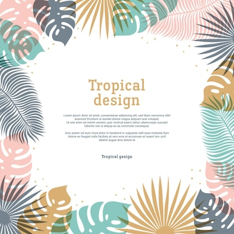 Tropical frame in pastel colors