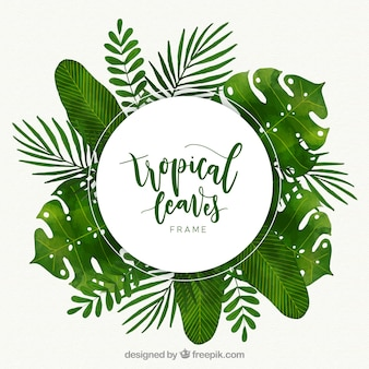 Tropical frame with different leaves in watercolor style