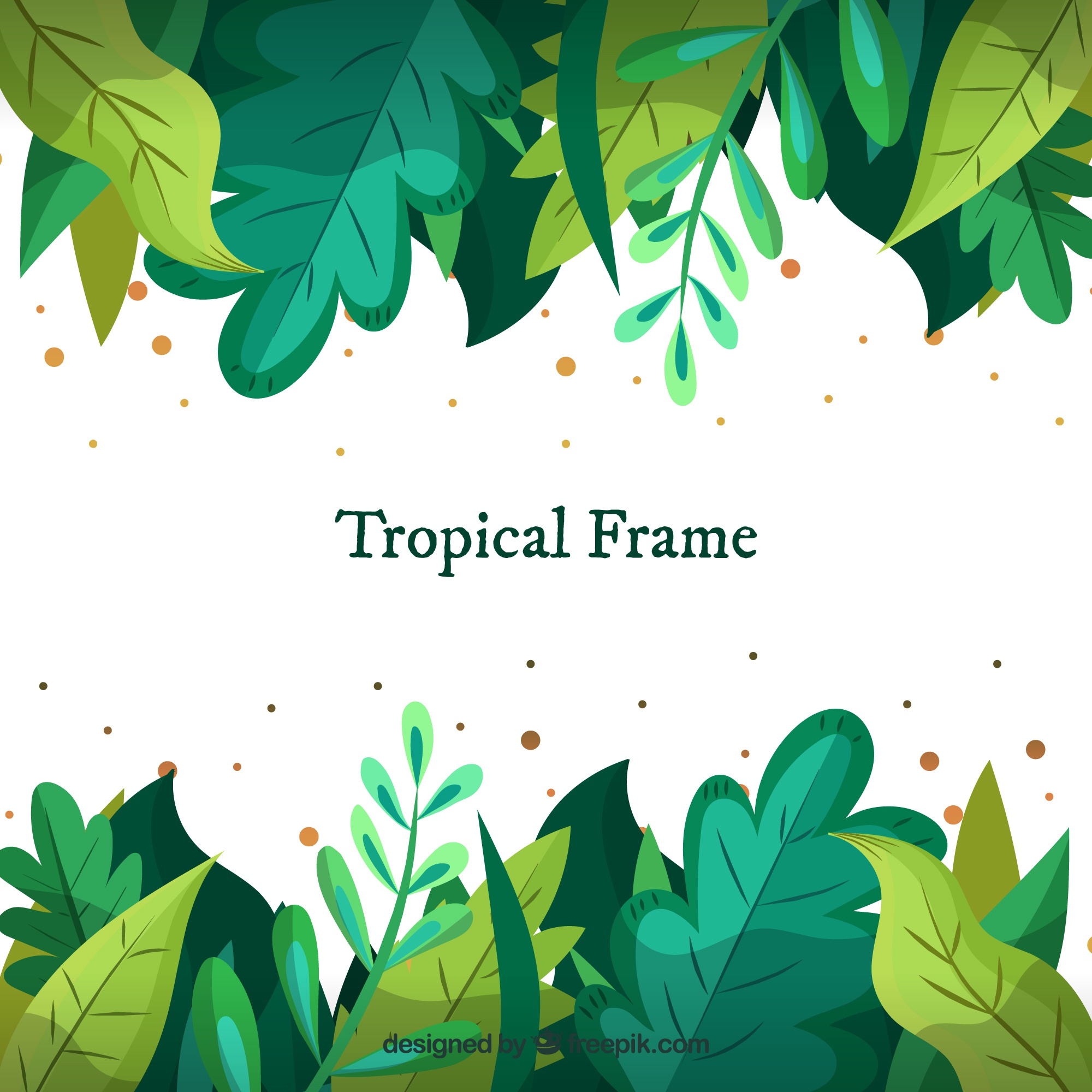 Tropical frame with different leaves