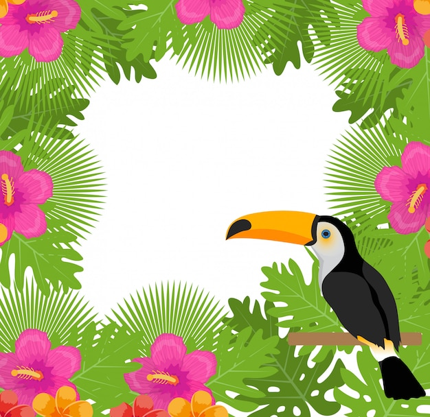 Tropical frame with flowers, plants and bird toucan. summer floral exotic background.