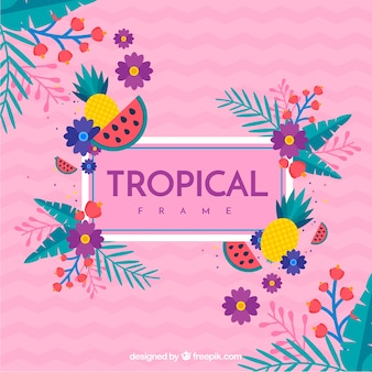 Tropical frame with leaves in flat style