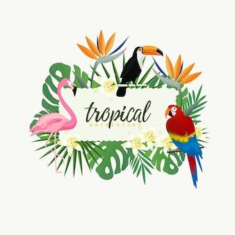 Тропическая рамка с попугаем, туканом, фламинго и тропическими листьями
