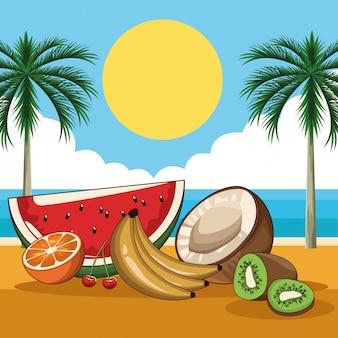 Тропические свежие фрукты