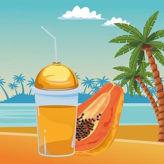 열대 과일과 스무디 음료