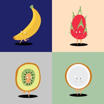 Tropical fruit cartoon characters vector set