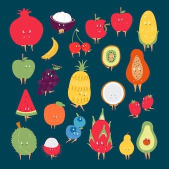 Набор векторных символов мультфильмов тропических фруктов
