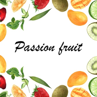 Tropical fruit frame banner with text, passionfruit with kiwi, pineapple, fruity pattern