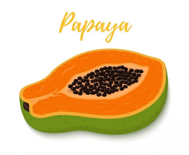 トロピカルフルーツ-パパイヤの半分とオレンジの果肉