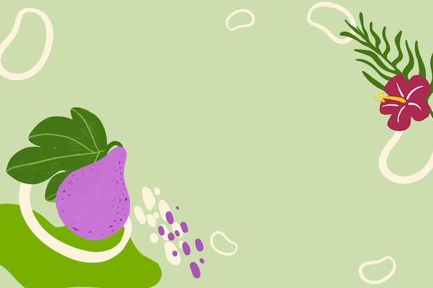 緑の背景にトロピカルフルーツ