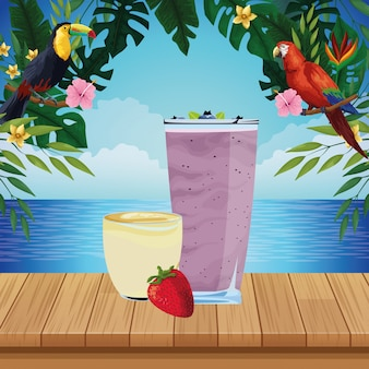 Tropical fruit and smoothie drink