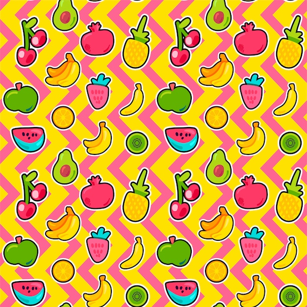Tropical fruits, berries seamless pattern