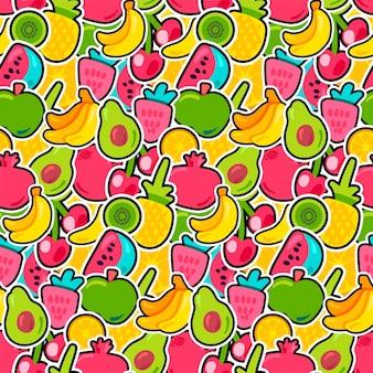 トロピカルフルーツ、ベリーはシームレスなパターンをベクトルします。輪郭を描かれたエキゾチックなスライスフルーツの壁紙デザイン