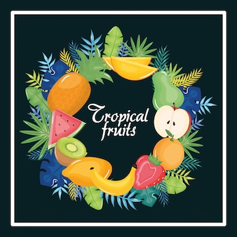 Tropical fruits circular frame with leafs palms