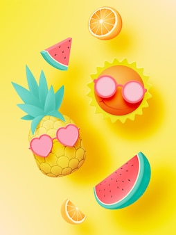 Tropical fruits in cute 3d art style and pastel color