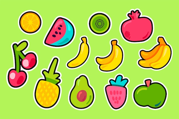 Tropical fruits flat vector set