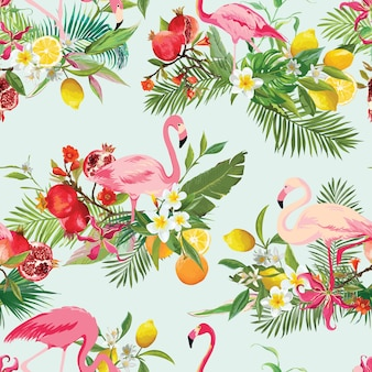 Tropical fruits, flowers and flamingo birds seamless background. retro summer pattern