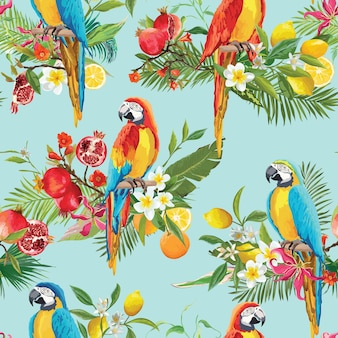 Tropical fruits, flowers and parrot birds seamless background. retro summer pattern