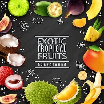 Tropical fruits frame chalk board background