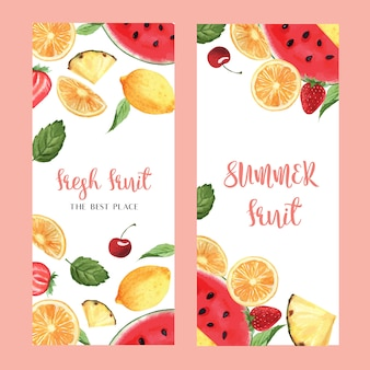 Tropical fruits menu design, passionfruit summer watermelon mango, strawberry, orange