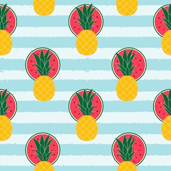 Tropical fruits pattern background