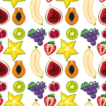 Tropical fruits seamless background
