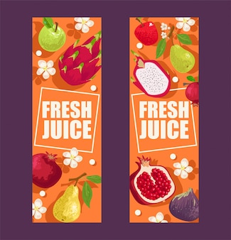 バナーイラストのトロピカルフルーツセット。マンゴスチン、リンゴ、ドラゴンフルーツ、ナシ、ガーネットなどのエキゾチックな夏の製品。葉と花。半分と全体の果物。