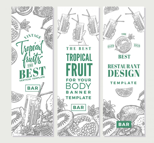 Tropical fruits sketch vertical banners