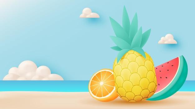 해변 배경으로 열 대 과일