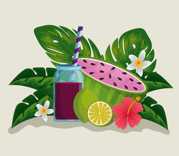 Tropical fruits with fresh beverage and flowers plants