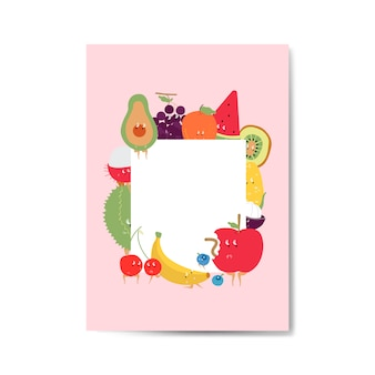 Tropical funny fruits cartoon character frame vector