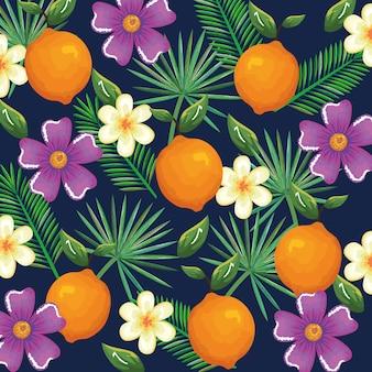 Tropical garden with orange