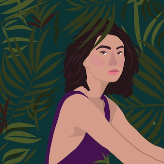 Tropical girl and palm leaves vector