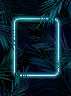 Tropical glowing neon frame. dark night jungle palm leaves. summer  background illustration.