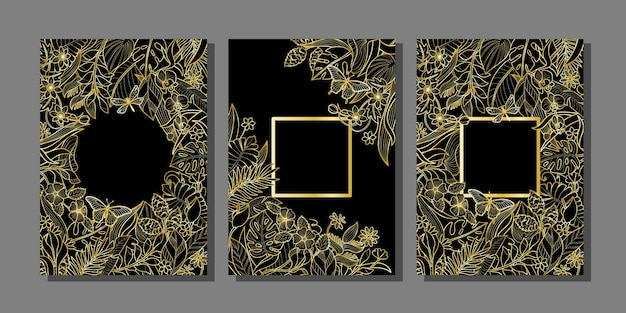 熱帯の金の花と植物のフレームセット