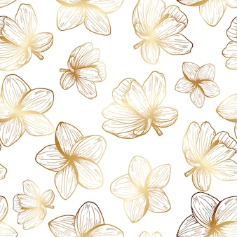 Tropical gold flowers hand drawn pattern