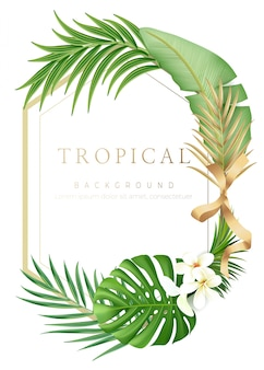 Tropical gold frame background