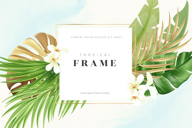 Tropical gold   frame with exotic nature background