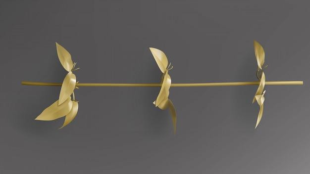 熱帯金箔、暗い黒の背景のベクトルにリアナの小枝。
