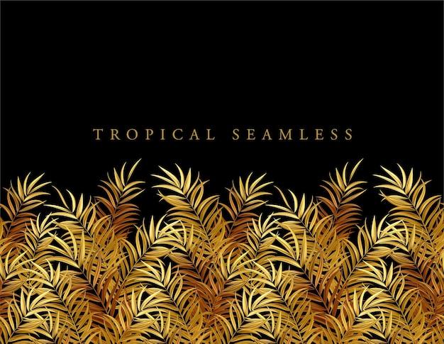 熱帯の金のヤシの葉、ジャングルの葉シームレスなベクトル花柄の背景