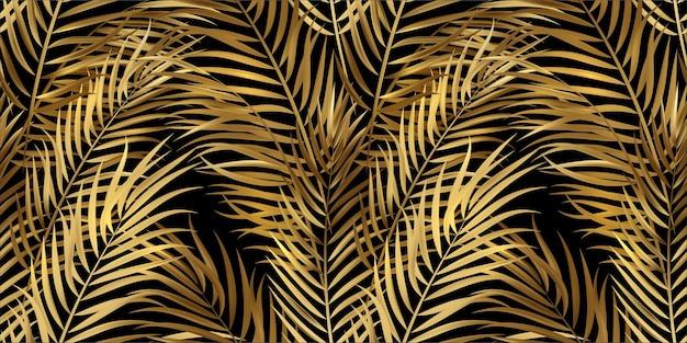 열 대 황금 종려 잎, 정글 잎 원활한 벡터 꽃 패턴 배경